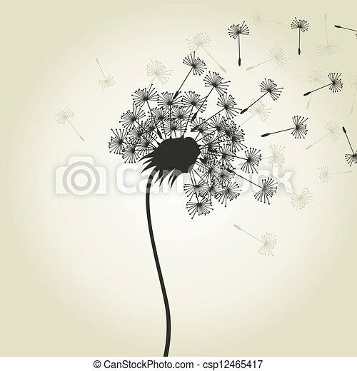 Clip art vecteur de fleur pissenlit depuis a - Dessin fleur pissenlit ...