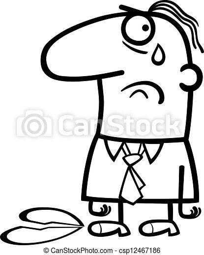 sad man on valentines day cartoon - csp12467186