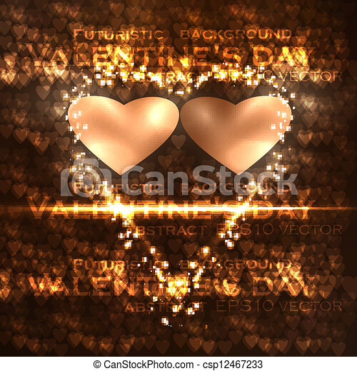 Vector valentines hearts illustration, abstract background , futuristic heart eps10 - csp12467233