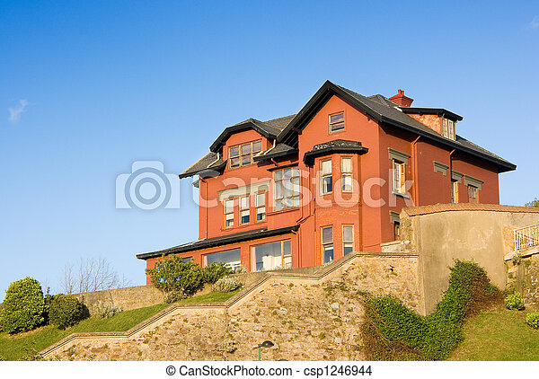 Construction House architecture building with a garden in a residential area. - csp1246944