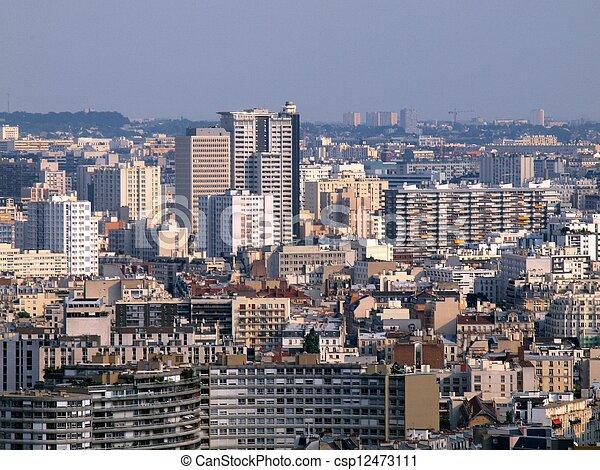 Paris city aerial panoramic bird eye view  - csp12473111