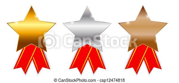Golden, silver  bronze awards. Vector illustration. - csp12474818