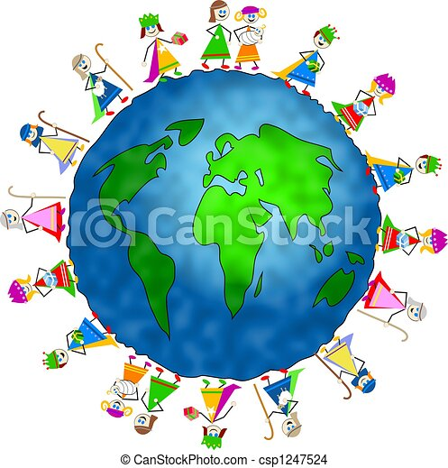 Drawing of global nativity kids - World globe surrounded by children ...