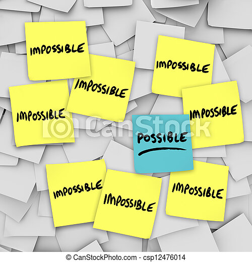 Possible Vs Impossibility Sticky Notes Background - csp12476014