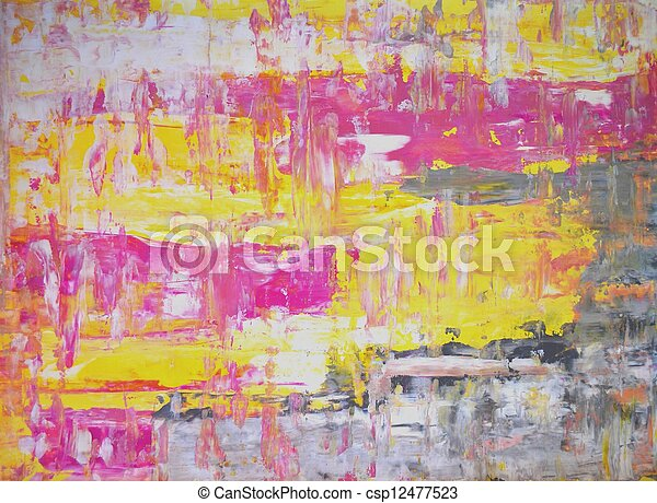 Pink and Yellow Abstract Art - csp12477523