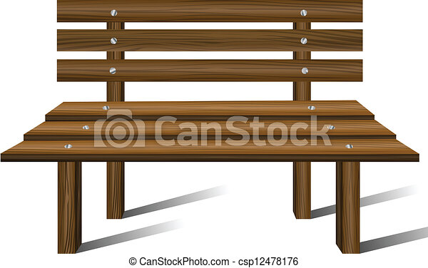 Vectors Illustration of Wooden bench from front view ...