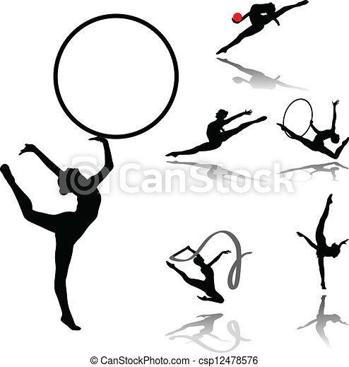 Vectors Illustration of rhythmic gymnastic collection vector ...