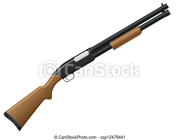 EPS Vector of shotgun vector illustration isolated on ...