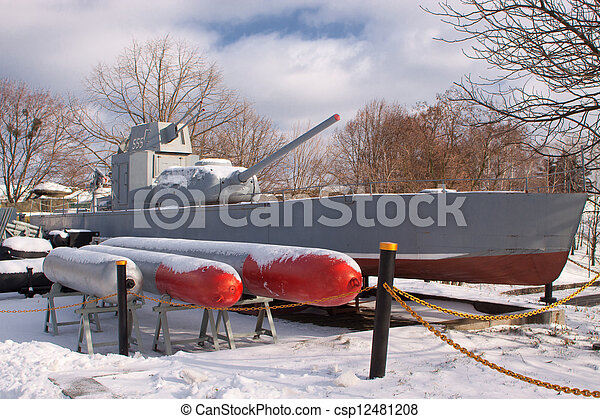Old Soviet military boat during the Second World War - csp12481208