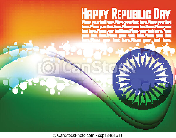 Vector illustration of Indian flag for Republic Day and Independence Day in shiny wave background. - csp12481611