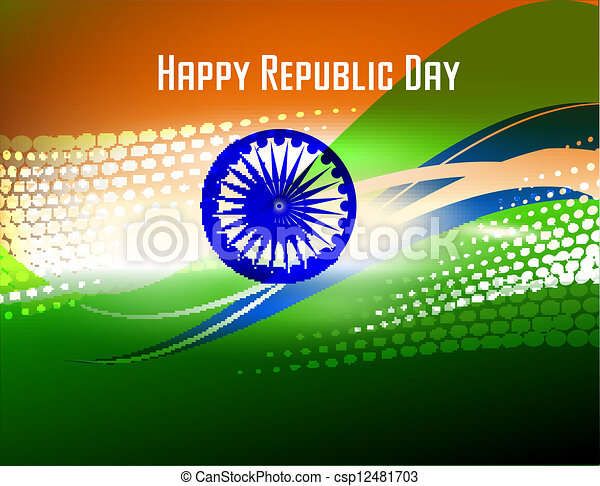 Vector illustration of  Republic Day and Independence Day in smooth wave with halftone. - csp12481703
