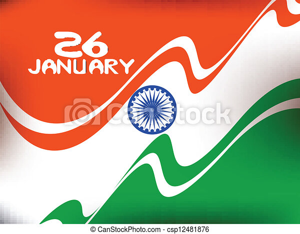 Vector illustration of  Republic Day in smooth wave with shiney color. - csp12481876