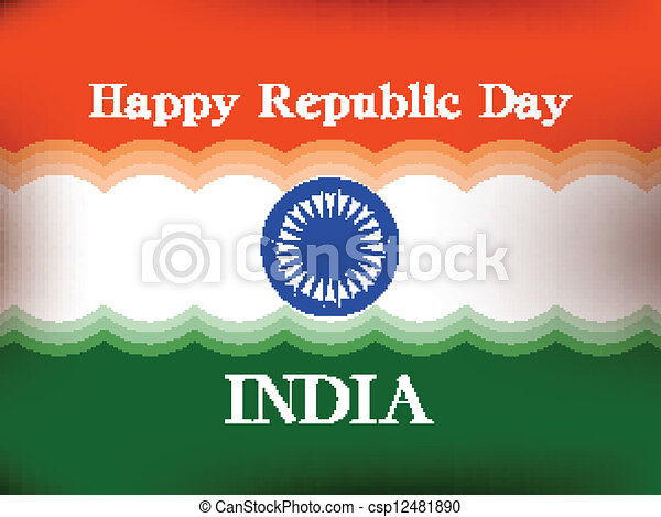 Vector illustration of  Republic Day in smooth wave with shiney color. - csp12481890