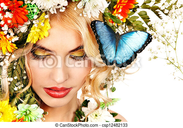 Woman with butterfly and flower. - csp12482133