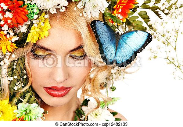 mariposa, mujer, flor - csp12482133