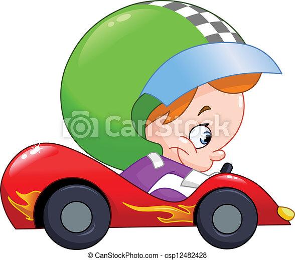 矢量-孩子, 比赛, 汽车, 驾驶员