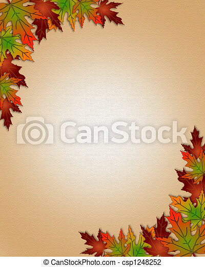 Autumn Fall Leaves Border Frame - csp1248252