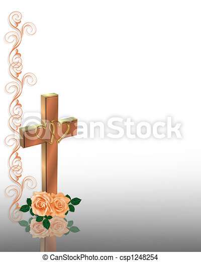 Wedding Invitation Christian Cross  - csp1248254