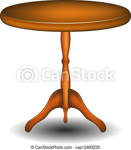 Vectors of Wooden round table - Round table in wooden ...