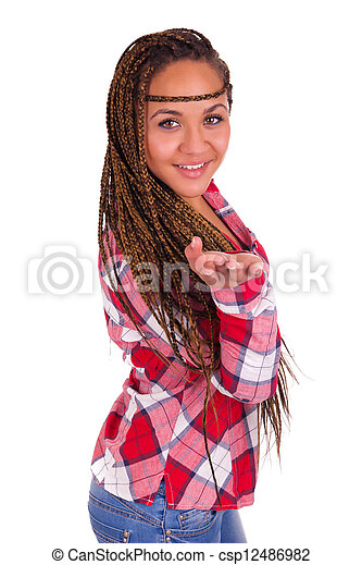 beautiful young African American woman with long black hair  - csp12486982
