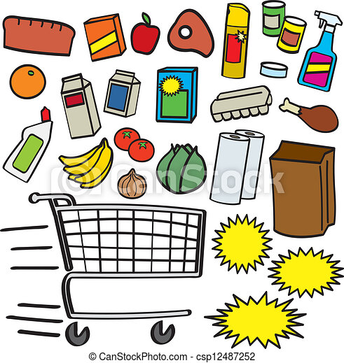 Clipart Vector Of Supermarket Items A Colorful