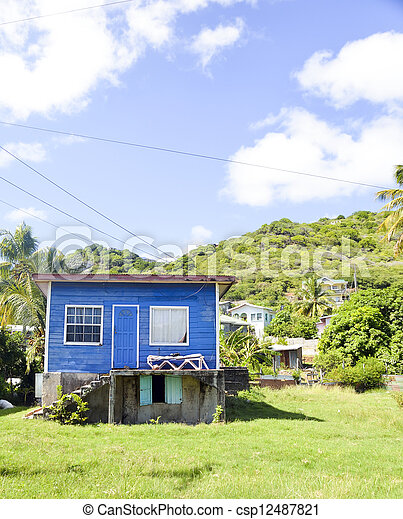 historic Caribbean architecture residence Union Island - csp12487821