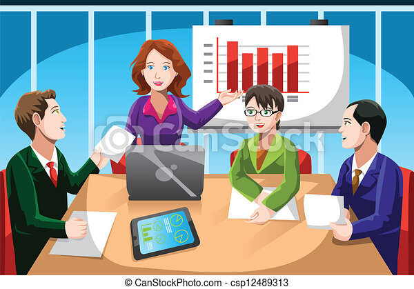 Vector Clip Art of Business meeting - A vector illustration of ...