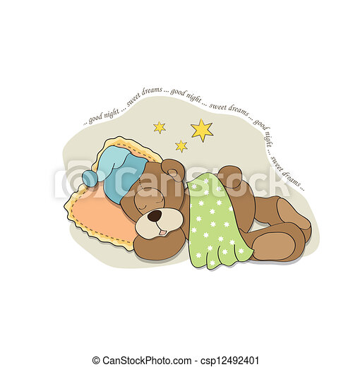 Cute Pillow Illustration : Vector Clipart of cute Teddy Bear sleeps on pillow, vector illustration csp12492401 - Search ...