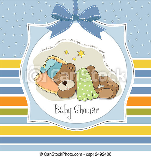 baby shower card with sleeping teddy bear illustration in vector