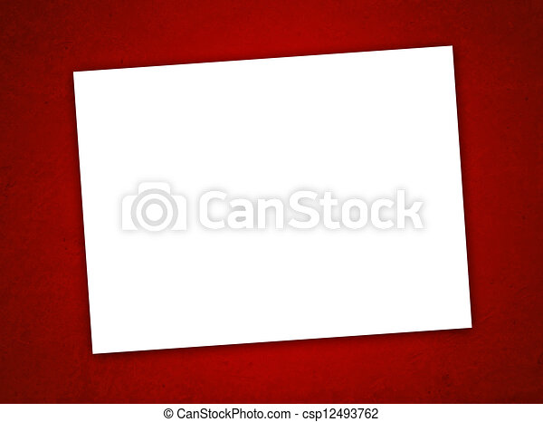 White Paper Valentine's Day Card on the Grunge Red Background - csp12493762