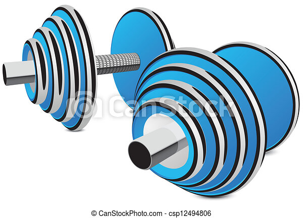 Vector Clipart of dumbbells vector illustration in blue with ...