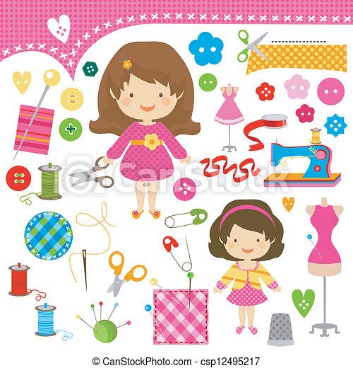sewing girls - csp12495217