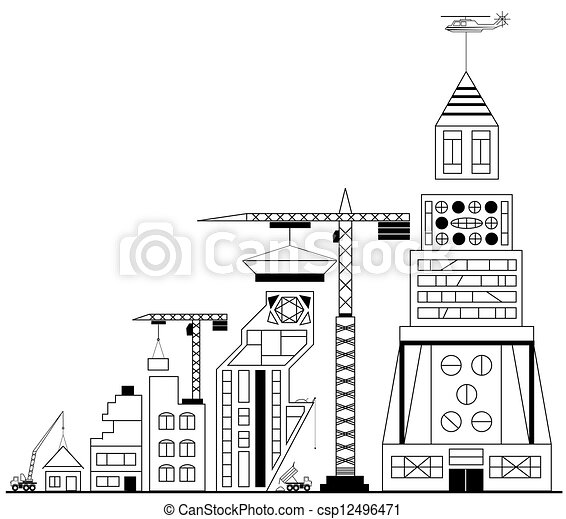 Stock Illustrations of Site building under construction ...