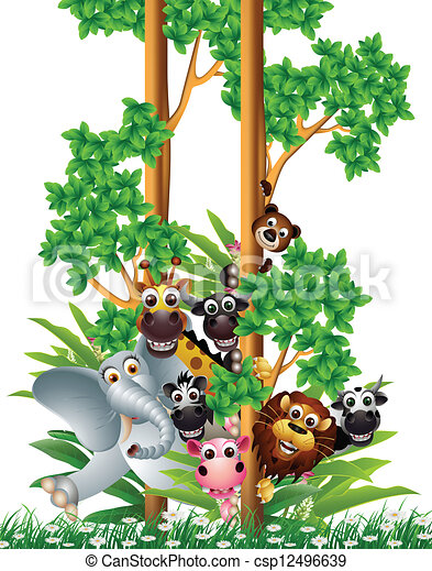funny animal cartoon collection  - csp12496639