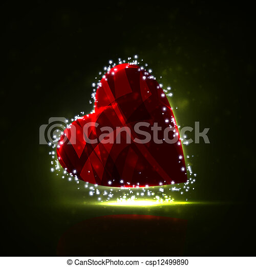 Futuristic heart, abstract background, vector illustration eps10 - csp12499890