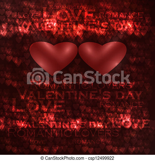 Vector valentines hearts illustration, abstract background , futuristic heart eps10 - csp12499922