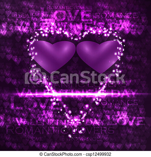 Vector valentines hearts illustration, abstract background , futuristic heart eps10 - csp12499932