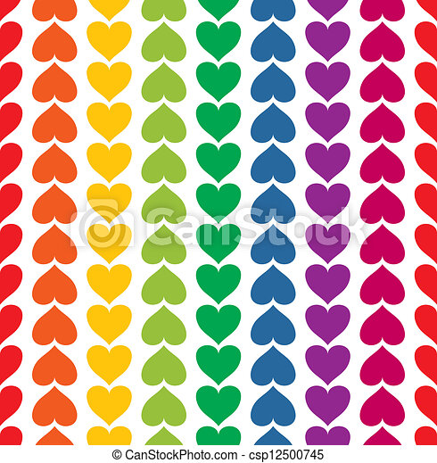 Vector seamless pattern with hearts colored like rainbow - csp12500745
