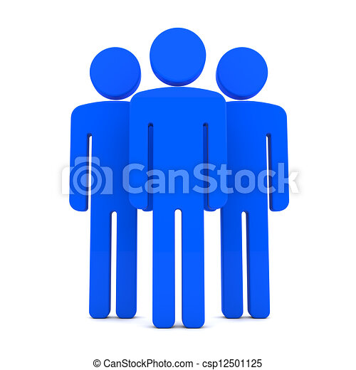 Teem of Three Blue Human Figures Standing Together on the White ...