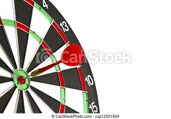 Dartboard with dart on white background. - csp12501504