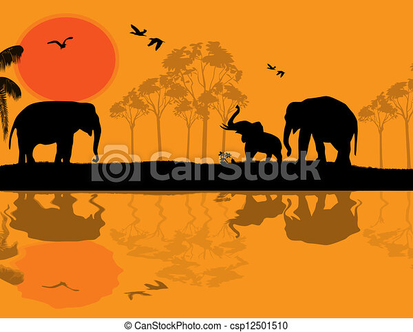 Vector Clip Art of African wildlife at sunset, with elephants near ...