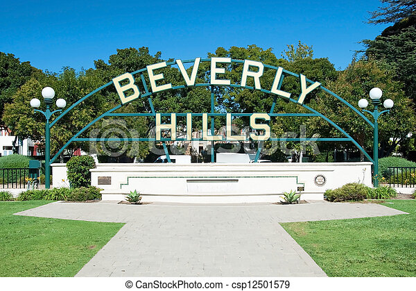 Beverly Hills sign in Los Angeles park - csp12501579