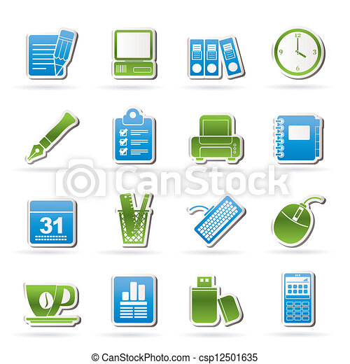 Vectores de equipo empresa negocio oficina iconos for Equipo de oficina