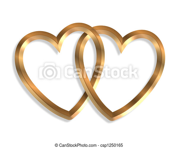 Linked Gold Hearts 3D - csp1250165