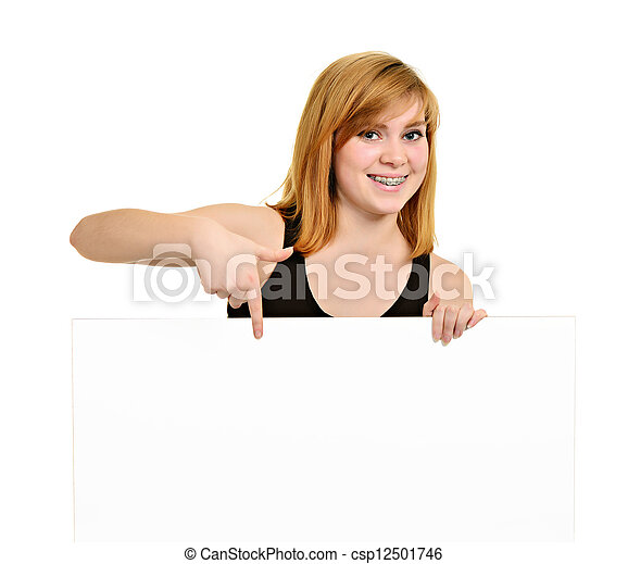Young girl with brackets and white billboard - csp12501746