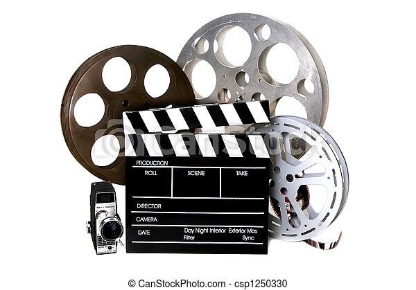 Film Reels and Directors Clapper With Vintage Camera - csp1250330