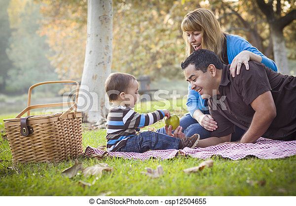 Happy Mixed Race Ethnic Family Having Picnic In The Park - csp12504655