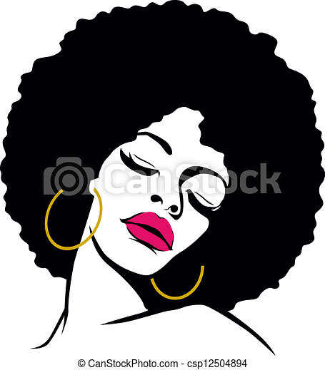 Afro Woman Drawing Afro Hair Hippie Woman Pop Art