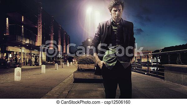 Stock Image of Sad man walking alone at the night - Sad ...