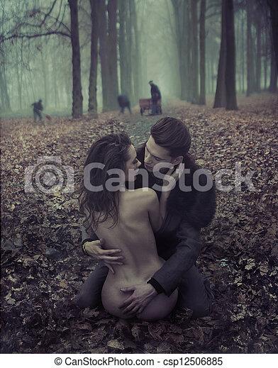 pelado, bonito, mulher, Abraçando, homem - csp12506885